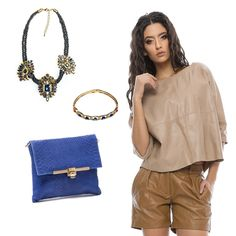 #OOTD: This leather shorts from Renata Corsi are perfect with this Sofia Cardoni blue bag and these accessories from Bella Rosa.