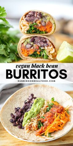 This vegan black bean burritos with tomato rice are healthy, filling and delicious. Perfect for a Mexican-themed burrito or taco bar with your favorite burrito fillings! # Vegan Black Bean and Rice Burritos Tasty Vegetarian Recipes, Veggie Recipes, Mexican Food Recipes, Whole Food Recipes, Healthy Recipes, Mexican Vegan Food, High Protein Vegetarian Recipes, Vegan Lunch Recipes, Healthy Tacos