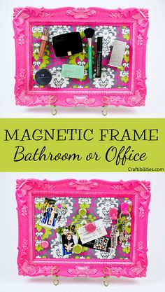 Fabric magnetic board frame & magnets to match! bathroom or office - diy craft tutorial - makeup, supplies, notes, etc Diy Crafts For Teen Girls, Diy Crafts To Do, Diy Crafts Videos, Diy Craft Projects, Makeup Storage Small Bathroom, Diy Gifts For Your Best Friend, Magnetic Makeup Board, Magnetic Boards, Christmas Thoughts