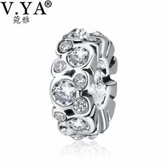 V.YA Drop Shipping Loose Beads fit for Pandora Bracelets Lover's Jewelry Women's Men's DIY Crystal Bead for Jewelry Making Charm