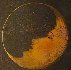 Moon with a woman's face art