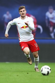 Timo Werner of Leipzig in action during the Bundesliga match between RB Leipzig and SC Freiburg at Red Bull Arena on April 15, 2017 in Leipzig, Germany.