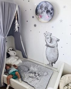 How busy days turn into quiet nights. Image by Kathy Andreoli. How busy days turn into quiet nights. Image by Kathy Andreoli. Baby Boy Room Decor, Baby Boy Rooms, Girl Room, Nursery Wall Decals, Nursery Room, Kids Bedroom, Toddler Rooms, Kids Room Design, Wall Design