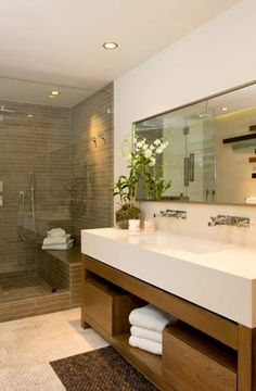 Suzie: Brown Design - Modern bathroom design with vanity, double sinks, mirror, frameless glass ...