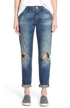 Women's Mavi Jeans 'Ada' Ripped Stretch Boyfriend Jeans (Medium Blue)