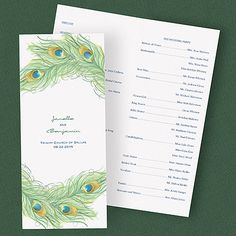 Peacock Charm - Peacock Feather Theme Wedding Ceremony Programs http://partyblock.carlsoncraft.com/Wedding/Programs/2414-FBP20911-Peacock-Charm--Program.pro