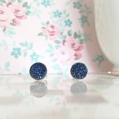 Blue Druzy Studs | Blue Druzy Earrings | Blue Stud Earrings | Dark Blue Earrings | Blue Drusy Earrings | Blue Titanium Druzy by adoliejewelryco on Etsy https://www.etsy.com/ca/listing/384853662/blue-druzy-studs-blue-druzy-earrings