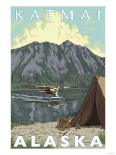 Bush Plane & Fishing, Katmai, Alaska Print at Art.com