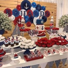Um amor este Chá de Bebê  Por @renatadupuy_festascriativas #blogencontrandoideias #encontrandoideias #fabiolateles Boys First Birthday Party Ideas, 75th Birthday Parties, 1st Boy Birthday, Boy Baby Shower Themes, Baby Boy Shower, Baby Shower Decorations, Sailor Baby Showers, Memorial Day Foods, Nautical Party