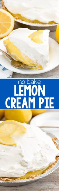 No Bake Lemon Cream Pie - this EASY lemon pie recipe has a homemade graham cracker crust and is filled with lemon and vanilla pudding! It's the EASIEST lemon pie recipe ever!