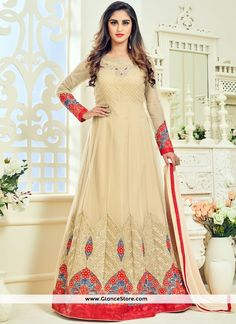 Krystle Dsouza Net Embroidered Work Floor Length Anarkali Suit