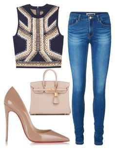 """Untitled #211"" by cicisquared on Polyvore featuring Christian Louboutin, Vero Moda and Hermès"