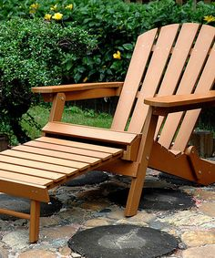 Faux Wood Adirondack Chair With Pullout Ottoman