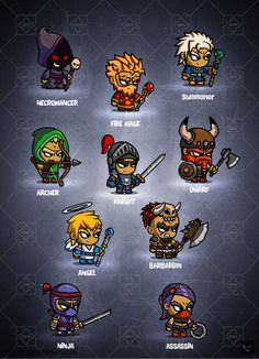 Check out RPG Cartoon Characters - game art by EatCreatures on Creative Market Game Character Design, Character Concept, Game Design, Character Art, Chibi Characters, Cute Characters, Fantasy Characters, 2d Game Art, 2d Art