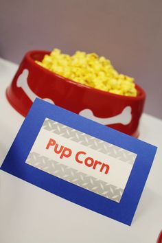 Pup-corn; Paw Patrol birthday party ideas; Puppy party ideas - Tap the pin for the most adorable pawtastic fur baby apparel! You'll love the dog clothes and cat clothes! <3