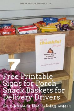 Make a porch snack basket to brighten the day of your delivery drivers this holiday season (7 free printable signs to choose from!) | The Sparrow's Home Joy Of The Lord, Community Boards, Christian Families, Marriage And Family, Christian Encouragement, Season 7, A Blessing, Inspirational Thoughts, Forks