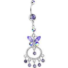 Purple Gem Cicero Butterfly Chandelier Belly Ring | Body Candy Body Jewelry