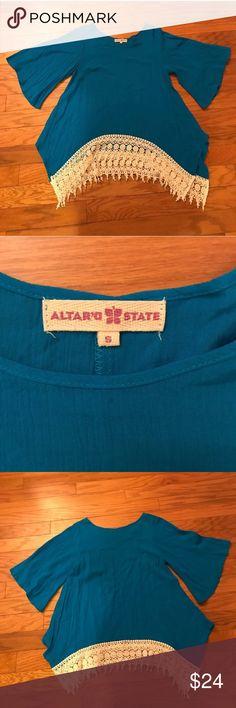 Altar'd State Blue Bell Sleeve Top Altar'd State Blue Bell Sleeve Top. Size small. Crocheted pattern across bottom. Altar'd State Tops