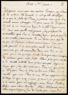 """racine, """"Iphigénie en Tauride"""" Manuscrit autographe, 1673 (?) 4 f., 27,5 x 19,5 cm BNF, Manuscrits, Fr. 12887, f. 9"""