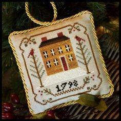 Sampler Tree ornaments series: Old Colonial. Gráfico de Little House needleworks en www.lacasinaroja.com
