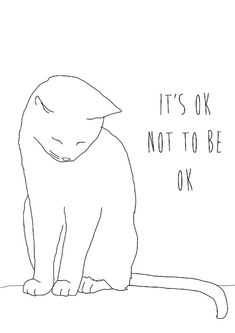 it's ok not to be ok white cat Etsy  by memorieswarehouse on Etsy, €8.00