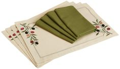 Amazon.com - DII Olive Grove Linen Olive Branch Embroidered Placemats/Olive Cloth Napkins, Set of 4 - Kitchen Linen Sets #AmazonCart #DII #DesignImports