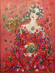 """""""Poésie de printemps"""" d'Anne-Marie Zilberman. Sa technique mixte mélange et superpose peintures à huile et acrylique, tissus, papiers, feuilles d'or, végétaux, donnant à ses toiles une profondeur, un relief et une luminosité remarquables. Certainement influencée par Gustav Klimt."""