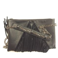 f115f5948da1 (SOLD) Street Level Fringe Handbag Black Faux Leather Cross Body Bag -  Tradesy