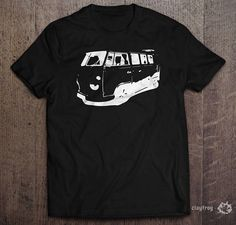 VW Camper Sillhouette / Novelty Themed Mens Black T-Shirt