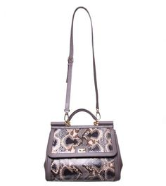 Dolce & Gabbana Grey Snakeskin/Leather Hand Bag