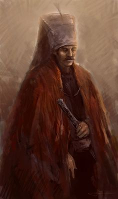 This is what a Jannisary in the ottoman empire wouldve looked like. They were trained to be loyal to none except the Sultan. These were basically personal lean mean killing machines for the Sultan