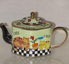 Kelvin Chen 1999 Cats & Tulips Enamel Copper Miniature Teapots Bright Colors Fun