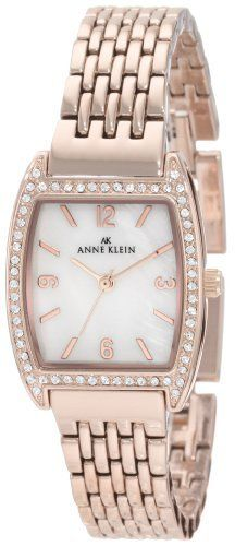 Anne Klein Women's 109726MPRG Swarovski Crystal Rosegold-Tone Bracelet Watch Anne Klein. $62.93. Swarovski crystal accented bezel. Sweep second hand. Rosegold-tone hour hands. Rosegold-tone link bracelet. Mother-Of-Pearl dial with rosegold-tone Arabic numerals at 12, 3, 6 and 9.