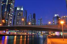 The Dubai Marina after dark