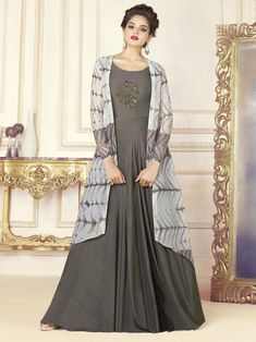 Charming grey embroidered gown online which is crafted from chanderi fabric with exclusive digital print also paired with tussar silk inner.
