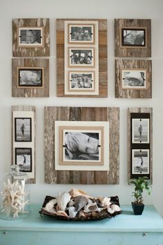 Discover thousands of images about Fotowände und Fotocollagen Ideen - Fotowand aus Holz Unique Home Decor, Diy Home Decor, Room Decor, Rustic Decor, Farmhouse Decor, Rustic Wood, Diy Wood, Barn Wood Decor, Pallet Wall Decor