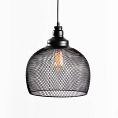 Black Iron Hanging Mesh Cage Pendant with Vintage Bulb rustic, industrial look for home or office