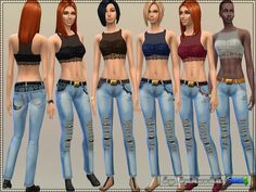 The Sims Resource: Lace set- top and jeans by Bukovka • Sims 4 Downloads