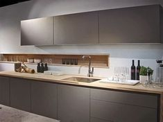 New Poggenpohl Colour - Stone Grey here is combination with Spekva wood worktop Most Popular Kitchen Design Ideas on 2018 & How to Remodeling Modern Kitchen Sinks, Cosy Kitchen, Modern Kitchen Design, Interior Design Kitchen, New Kitchen, Kitchen Decor, Kitchen Wood, Kitchen Grey, Kitchen Designs