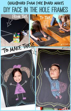 DIY Chalkboard Face In the Hole - Sugar Bee Crafts. Use graduate hats or other school/student motif Face In Hole, In The Hole, Chalkboard Party, Chalkboard Frames, Chalkboards, Diy For Kids, Crafts For Kids, Bee Crafts, Student Council