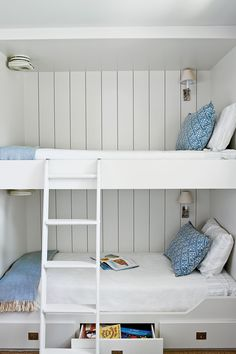 Room for Everyone Borrowing cues from life aboard a ship, the designers of this Galveston Bay, Texas, home maximized sleeping space in the boys& bedroom by working with builder Neil Potter to design and construct custom bunk beds. Small Spaces, Home, Small Room Design, Custom Bunk Beds, Loft Bed, Bed, Loft Spaces, Space Bedding, Bunk Rooms