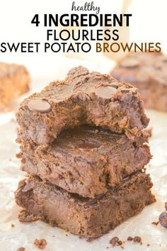 You won't believe these moist, fudgy and delicious brownies only use FOUR ingredients and NO butter, oil, flour OR sugar- The BEST 'healthy' brownies and SO easy! {vegan, gluten free, paleo, refined sugar free}