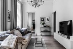 The living room on level two in Tritonia 4 Stora Nygatan Cheap Living Room Furniture, Living Room Inspiration, Cheap Office Furniture, Living Room Decor Neutral, Home And Living, Interior, Interior Design Bedroom, Home Decor, House Interior