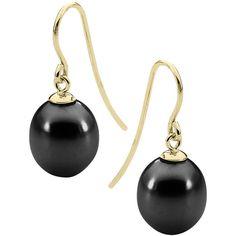 StyleRocks Black pearl yellow gold drop earrings ($225) ❤ liked on Polyvore featuring jewelry, earrings, black gold earrings, black pearl jewelry, black pearl earrings, hook earrings and gold jewelry