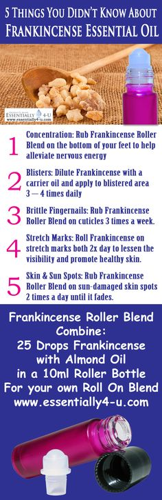 5 Things You Didn't Know About Frankincense Essential Oil and how to apply it in the best way.   Features the Essentially 4-U Purple Roll On Bottle