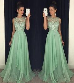 2017 Custom Made Green Chiffon Prom Dress,Beading Evening Dress,Sexy Side Slit Party Gown,Sleeveless Pegeant Dress,High Quality