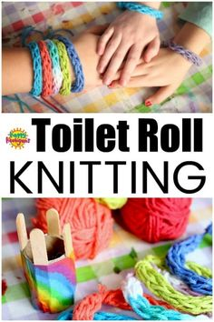 Toilet Roll Knitting - French Knitting with a Cardboard Roll - Happy Hooligans projects for kids Toilet Roll Knitting - French Knitting for Kids Happy Hooligans, Knitting Terms, Knitting For Kids, Loom Knitting, Knitting Patterns, Finger Knitting Projects, Free Knitting, Start Knitting, Knitting Machine