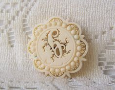 Antique Victorian Bone Brooch Pierced Openwork Carved Bone Pin Victorian Jewelry C Clasp Antique Pin by cynthiasattic on Etsy