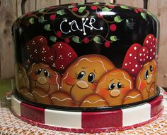 Gingerbread Hand Painted Vintage Cake Cover by PaintingByEileen