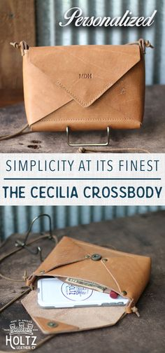 $100 - HANDMADE in Huntsville, Al. - PERSONALIZE WITH YOUR INITIALS - The Cecilia Envelope Purse embodies simplicity and style. This purse is perfect for the days your only interested in carrying the necessities. The Cecelia is constructed out of the finest of full grain American leathers even the down to the lace strap!